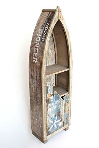 DanDiBo Regal Boot Bootsform Holz Antik MR16 Maritim Bootsregal Badregal Badschrank Braun Regal - 3
