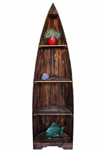 Exotisches Holz-Bootsregal dunkelbraun