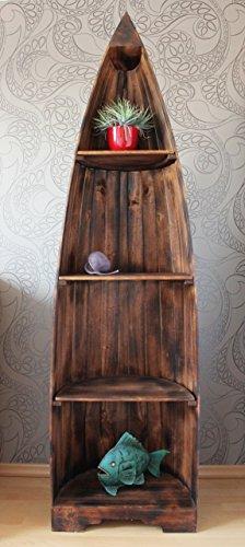 Exotisches Holz Bootsregal Regal Boot dunkelbraun 195cm - 2