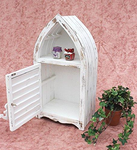 DanDiBo Schrank in Weiß Vintage Bad Klein Regal 1200011 S 60cm Badregal Shabby Badschrank Badmöbel Bootsform - 2