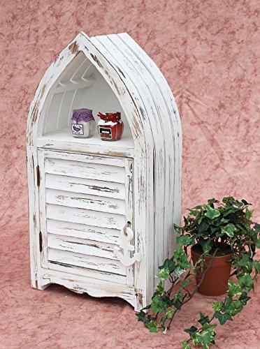 DanDiBo Schrank in Weiß Vintage Bad Klein Regal 1200011 S 60cm Badregal Shabby Badschrank Badmöbel Bootsform - 5