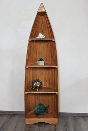 Exotisches Holz-Bootsregal