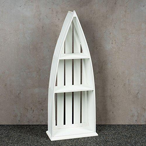 Regal Holz Weiß 76 cm Hoch Boot Bootsregal Shabby Chic Vintage Landhausstil Aufbewahrung Deko - 2