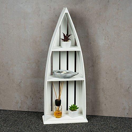 Regal Holz Weiß 76 cm Hoch Boot Bootsregal Shabby Chic Vintage Landhausstil Aufbewahrung Deko - 3