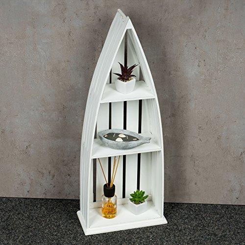 Regal Holz Weiß 76 cm Hoch Boot Bootsregal Shabby Chic Vintage Landhausstil Aufbewahrung Deko - 4