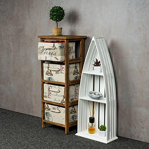 Regal Holz Weiß 76 cm Hoch Boot Bootsregal Shabby Chic Vintage Landhausstil Aufbewahrung Deko - 5
