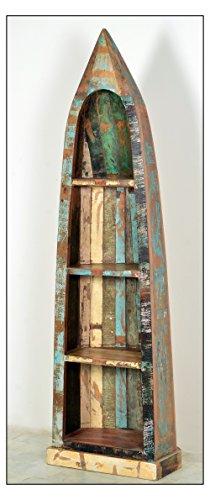 Boots-Regal in Handarbeit aus Alt-Holz hergestellt mit 4 Regalfächern 55x35x190 cm | Rivership | Buntes Holz-Regal lackiert mit starken Gebrauchsspuren im Shabby Chic-Look 55cm x 35cm x 190cm - 2