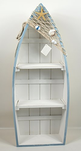 Maritimes Regal in Bootform blau/weiß/natur