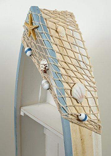 Maritimes Regal in Bootform Bootsregal ca.62x24x9,5cm blau/weiß/natur maritime Deko II.Wahl - 3