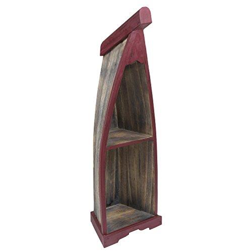 Bootsregal Boot Regal Bücherregal Bücherschrank Standregal Aufbewahrung 100 cm Albesia Holz Braun Dunkelrot - 2