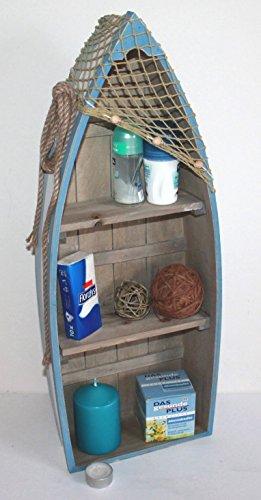 AAF Nommel ® Boot Regal 61 x 24 x 9 cm, Kiefernholz, Maritim Dekor im Shabby Look, Nr. 013 - 2
