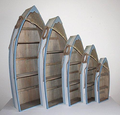 AAF Nommel ® Boot Regal 61 x 24 x 9 cm, Kiefernholz, Maritim Dekor im Shabby Look, Nr. 013 - 8