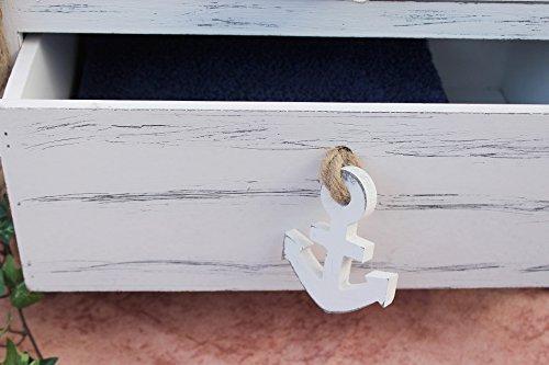 DanDiBo Boot Kommode 412-WH 117cm Badregal Weiß Shabby Schrank Badschrank Badmöbel Regal Bootsform - 7