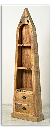 Bootsregal Mangoholz mit 3 offenen Fächern und 2 Schubladen