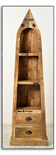 Boots-Regal mit 3 offenen Fächern und 2 Schubladen aus massivem Mango-Holz Antik-Finish 55x190 cm | Crust | Antikes Holz-Regal mit starken Gebrauchsspuren und schwarzen Beschlägen 55cm x 190cm - 2