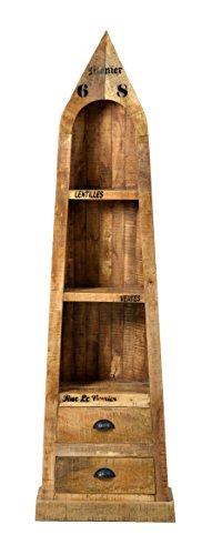 Boots-Regal mit 3 offenen Fächern und 2 Schubladen aus massivem Mango-Holz Antik-Finish 55x190 cm | Crust | Antikes Holz-Regal mit starken Gebrauchsspuren und schwarzen Beschlägen 55cm x 190cm - 3