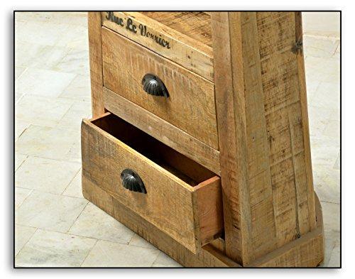 Boots-Regal mit 3 offenen Fächern und 2 Schubladen aus massivem Mango-Holz Antik-Finish 55x190 cm | Crust | Antikes Holz-Regal mit starken Gebrauchsspuren und schwarzen Beschlägen 55cm x 190cm - 4