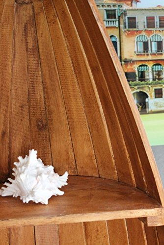 Exotisches Set Holz Regal Bootsregal Boot Bootsform braun hellbraun 145cm & 95cm - 4